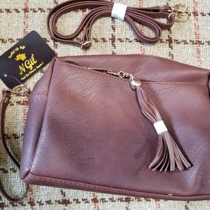 Brown faux leather crossbody